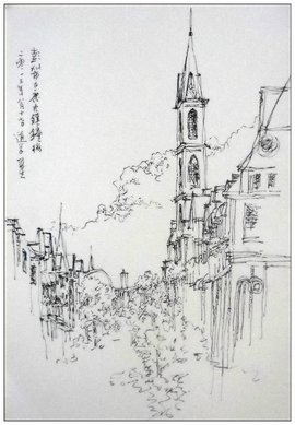 古镇风景素描画步骤图