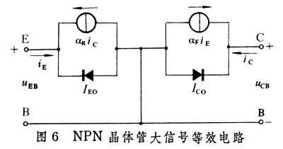 根据埃伯尔斯-莫尔方程得出的npn晶体三极管大信号等效电路(图6),不仅