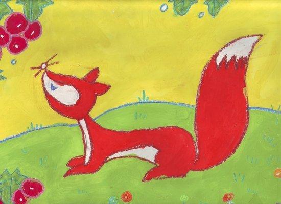 儿童画画动物狐狸