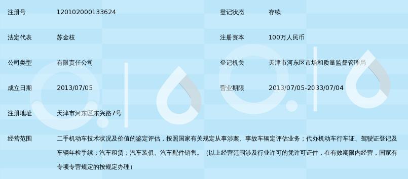 天津东旭机动车鉴定评估有限公司_360百科