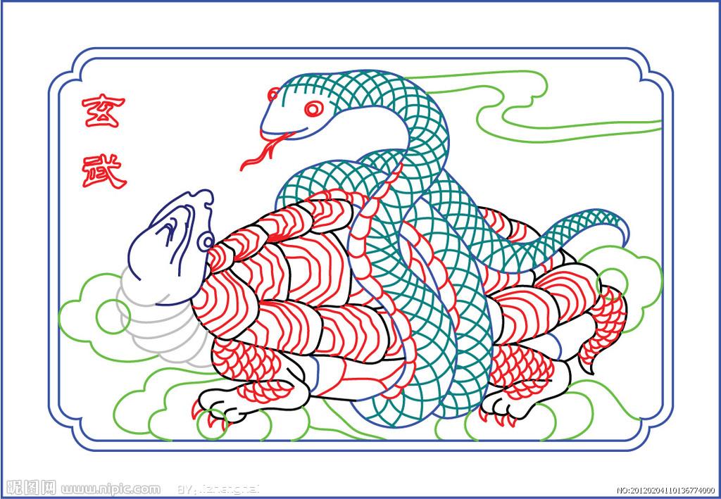 玄武简笔画矢量图