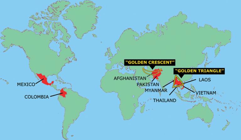 南美洲,中东,阿富汗,及东南亚的金三角.