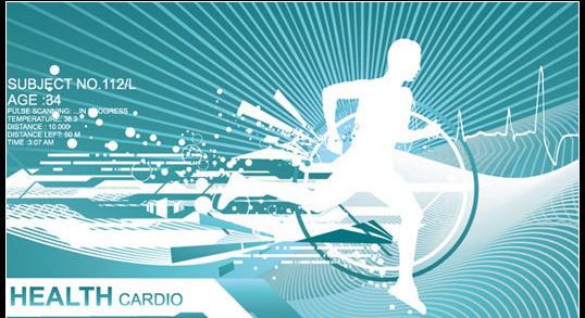 跑步运动人物与动感线条矢量素材