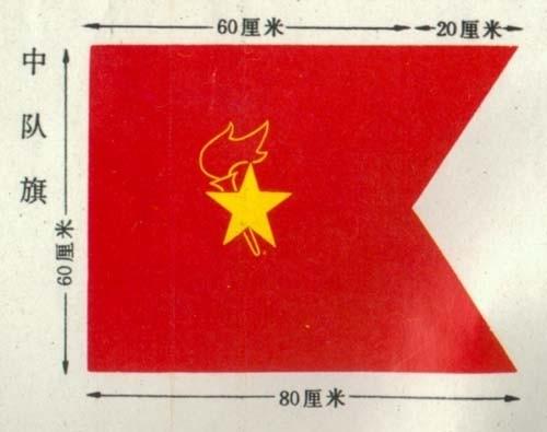 """加火炬和写有""""中国少先队""""的红色绶带组成我们的队徽"""